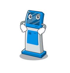 Smirking information digital kiosk with in cartoon vector
