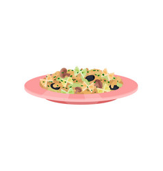 spaghetti pasta with mushrooms and olives italian vector image