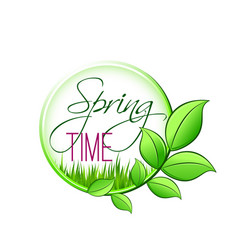Springtime green leaf and spring grass icon vector