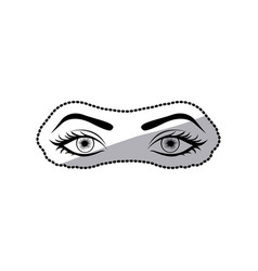 Sticker black silhouette woman with open eyes vector