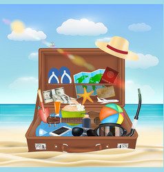 Suitcase open with beach travel object on beach vector