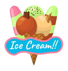 Summer sundae logo and label for ice cream shop vector