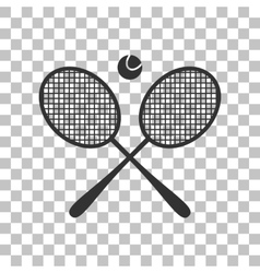 Tennis racket sign Dark gray icon on transparent vector image