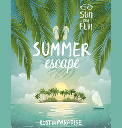 Tropical beach poster summer escape vector