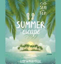 tropical beach poster summer escape vector image vector image