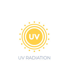 Uv radiation icon on white vector