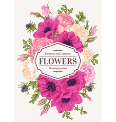 Vintage wedding card with flowers vector