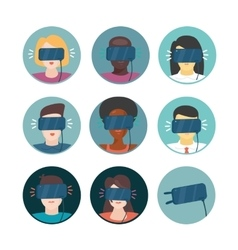 Virtual Reality Icons set with people vector image