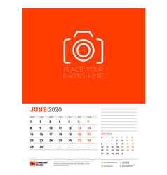 Wall calendar planner template for june 2020 week vector