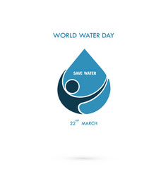 Water drop with human icon logo design vector