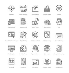 Web and seo line icons 21 vector