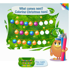 what comes next coloring christmas toys vector image