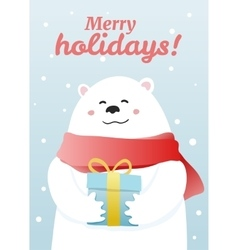 Winter postcard with white bear vector