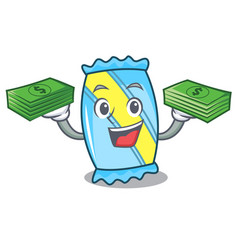 with money bag candy mascot cartoon style vector image