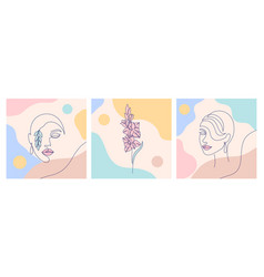 Woman faces and gladiolus vector