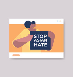 woman holding text banner against bullying vector image