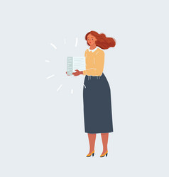 Woman with stack paper in her hands office vector