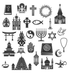 World religions symbols and signs vector