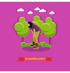 Young girl rollerblade in the park flat design vector
