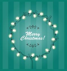 christmas lights wreath frame - round festive vector image