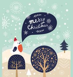 christmas with bird and trees in cart vector image vector image