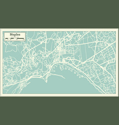 Naples italy city map in retro style outline map vector