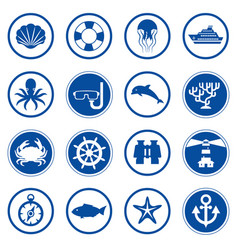 sea and ocean flat icons collection vector image