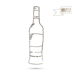 Sketch of Wine Bottle Isolated On The White vector image vector image