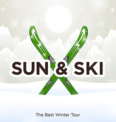 Sun Ski and sun snow background vector image vector image