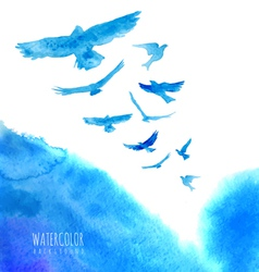 Watercolor sky background with birds vector image vector image