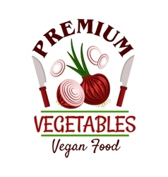 Fresh healthy onion vegetable badge vector image