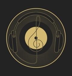 Headphones vintage vinyl clef mono line logo vector image vector image