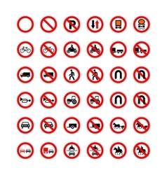 Set of forbidden road signs isolated on white vector image vector image