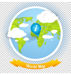 World Map with Marks and Web Elements Templ vector image vector image
