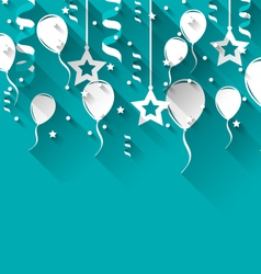 birthday background with balloons stars and vector image vector image