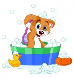 Dog having bath vector