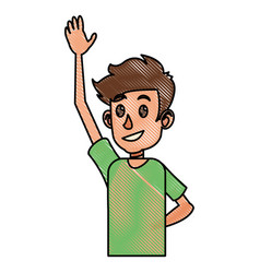 Drawing young boy teen arm up vector