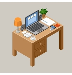 Flat isometric workspace Desk Office vector image vector image