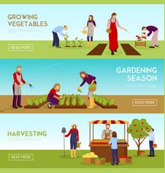 gardening season horizontal banners set vector image vector image
