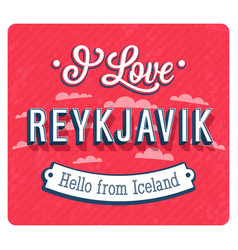Vintage greeting card from reykjavik vector