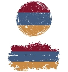 Armenian round and square grunge flags vector image vector image