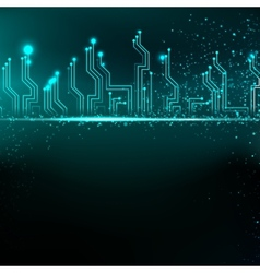 Circuit board background with blue electronics vector image