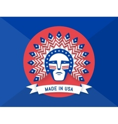 Icon of American man with Indian chief feathers on vector image