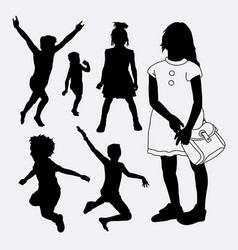kid and children happy silhouette vector image