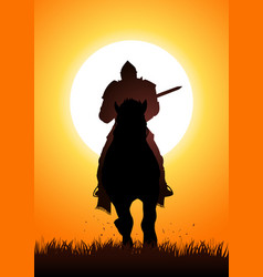 medieval knight on horse carrying a lance vector image vector image