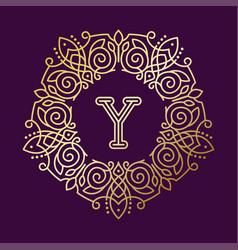 monogram y bage logo text vector image vector image