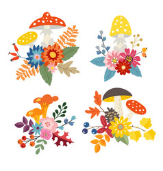 set of hand drawn bouquets made of mushrooms vector image vector image