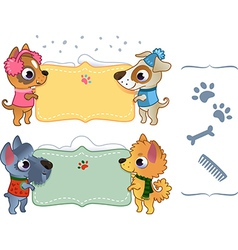 Set of winter banners with dog vector image vector image