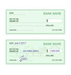 Template blank bank check vector