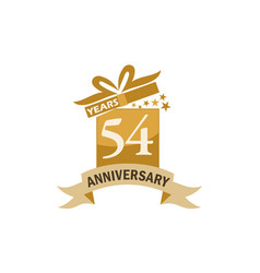 54 years gift box ribbon anniversary vector